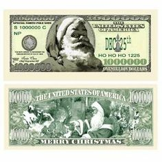 Santa One Million Dollar Bills Stocking Stuffers 100 Pack By Ddi 45 70