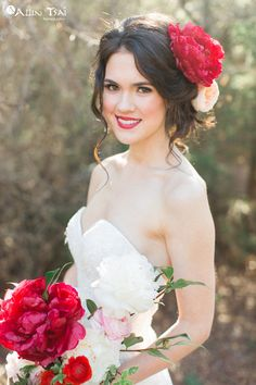 Timeless Romance by Allen Tsai Photography.   Amazing red peony bridal bouquet and headpiece by The Southern Table.  Gown by Waters.