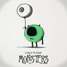 Mike Wazowski // Tim Burton Style // Monster's Inc Tim Burton Stil, Tim Burton Kunst, Disney Kunst, Disney Art, Dark Disney, Disney Movies, Disney Pixar, Disney Drawings, Cute Drawings