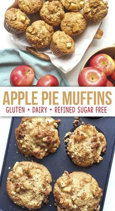 Apple Pie Muffins - The Dish On Healthy - Apple Pie Muffins – The Dish On Healthy: gluten and dairy free Apple Pie Muffins – The Dish On - Dairy Free Muffins, Healthy Muffins, Healthy Apple Snacks, Clean Eating Muffins, Paleo Recipes Healthy, Apple Recipe Healthy, Healthy Recipes With Apples, Apple Recipes Healthy Clean Eating, Low Calorie Muffins