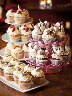 Cupcakes Galore!! Mini Cupcakes, Desserts, Food, Tailgate Desserts, Deserts, Essen, Postres, Meals, Dessert