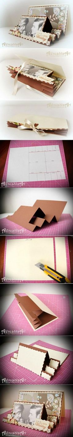 How to make 3D Wedding Card step by step DIY tutorial instructions / How To Instructions