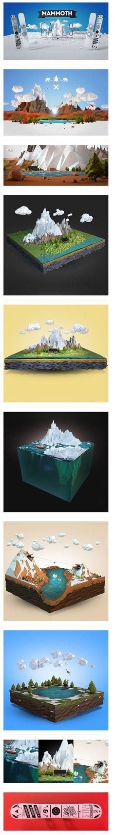 Mammoth Falls By Aldo Pulella  3d, Low Poly, Art Direction    http://www.behance.net/gallery/Mammoth-Falls/7294315 #inspiration #cinema4d #3d: