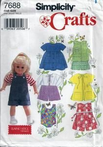 "SIMPLICITY 7688 18"" DOLL CLOTHES SEWING PATTERN SWIMSUIT JUMPSUIT JACKET UC 