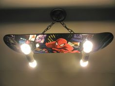 Custom Hanging Spiderman Skateboard Light by LightingCrafters, $199.99<<----WHAT!! Ha I can make this my self....Oh Jeremiah.....