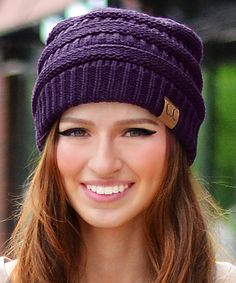 Another great find on #zulily! Eggplant Ribbed Beanie by Sakkas #zulilyfinds