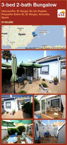 3-bed 2-bath Bungalow in UbicaciÓn: El Verger Es Un Pueblo Pequeño Entre El, El Verger, Alicante, Spain ►€149,000 #PropertyForSaleInSpain