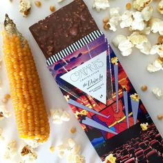 Compartes gourmet milk chocolate and popcorn bar. Handmade in Los Angeles with the finest premium milk chocolate and three different types of popcorn. Compartés