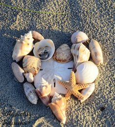 Shells in the sand, made into a heart, with the rings in one of the shells!  Great ring photo for a beach wedding!!