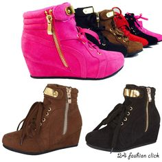 Kids Youth Girls Toddler Wedge Sneaker High Top Shoes Black Fuchsia Brown Red  #Link #WedgeSneaker