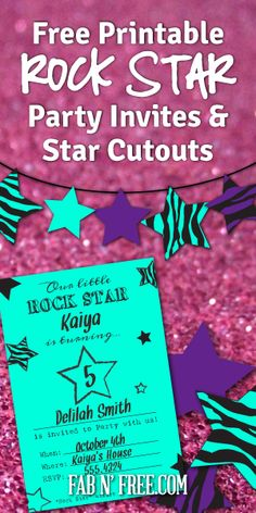 Free Printable Rock Star Party Invitations and Star Cutouts. These are B&W to print on colored paper (saves ink!) fabnfree.com