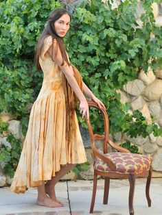Linen dress dyed with Iron Oxide. Slow Design, Iron Oxide, Shibori, Rust, Personal Style, Bohemian, Contemporary, Clothes For Women, Classic