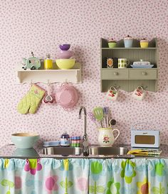 Adorable collection my doll house fantasy by eddie Decor, Interior, Play Kitchen, Vintage Kitchen, Kitschy Kitchen, Brighten Kitchen, Cute Kitchen, Whimsical Decor, My Doll House