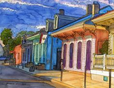 John Boles   WATERCOLOR          French Quarter Houses In Pink And Blue Painting