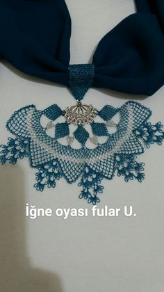 This Pin was discovered by Cem Piercings, Scarf Jewelry, Needle Lace, Moda Emo, Diy And Crafts, Crochet Necklace, Jewels, How To Make, Handmade
