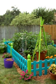 colorful fenced garden~ cannot find original source; going from picture love the low colorful fence, the bean poles with large pots and other flowers around outside.  Great for the kids garden.