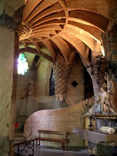 Guell Crypt, Chapel in the Colonia Guell in Santa Coloma de Cervello (Catalonia, Spain). By Antoni Gaudi Art Nouveau Architecture, Church Architecture, Beautiful Architecture, Beautiful Buildings, Architecture Details, Modern Buildings, Modern Architecture, Art Deco, Architecture Organique
