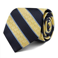 Add this Superman Yellow and Navy Stripe Tie to your wardrobe. It's classy. It's subtle. (The Superman logo is woven into the yellow fabric.) It's faster than a ... no. It's not fast, powerful, or able to leap anything. It's a necktie.