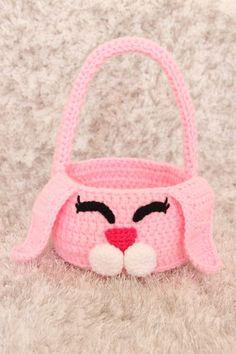 Crochet Easter Basket Crochet Bunny Gift by StitchinPrincess