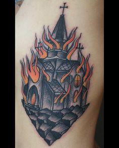 Burning church by Sebastian Jimenez (@ sebastian.jmnz.tattoo) #tattoo #neotraditionaltattoo #church #burningchurch #tattooworkers #darkartists #queretaro #mexico