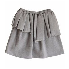 Von Sono Grey Short Skirt With Frill (11.480 RUB) ❤ liked on Polyvore featuring skirts, grey skirt, frill skirt, elastic waist skirt, gray skirt and frilled skirt