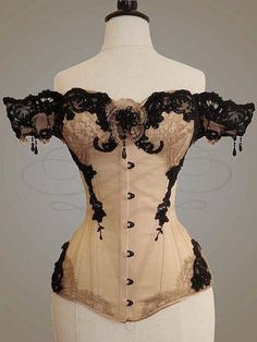 "This is the overbust 'Aphrodite' corset by v-couture-boutique on DeviantArt. This is the description they provide: ""Overbust corset made of light-golden duchesse, featuring a black busk,. Mode Steampunk, Steampunk Fashion, Victorian Fashion, Vintage Fashion, Steampunk Corset, Steampunk Clothing, Steampunk Lingerie, Steampunk Couture, Victorian Steampunk"