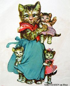 "ADORABLE Frances Brundage Illustration from the Antique 1921 Children's Book ""What Happened to Tommy.""  Cats and Kittens!"