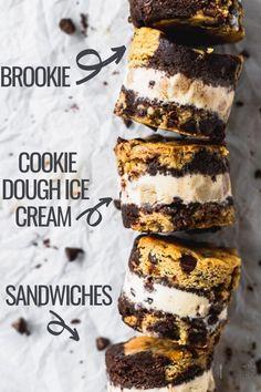 Chocolate Crunch, Chocolate Chip Cookie Dough, Chocolate Brownies, Cookie Dough Recipes, Baking Recipes, Sandwich Bar, Sandwiches, Summer Desserts, Summer Recipes