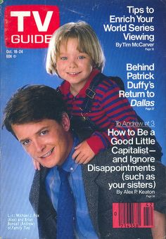 Michael J. Fox and Brian Bonsall on the cover of TV Guide - October 18, 1986