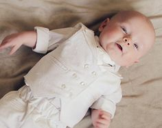 Baby Boy Blessing Christening Dedication Confirmation Baptism Double-Breasted Outfit Suit 0-3 mo. (Corduroy)