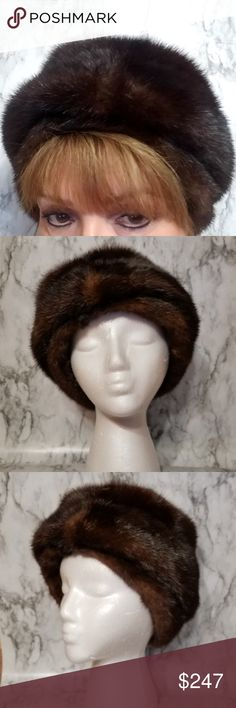"Bergdorf Goodman Vintage Fur Hat - Size Medium FROM MY FAMLY CLOSET .. Bergdorf Goodman On The Plaza - New York Vintage ""Made to Order Hat"".  Natural fur slubs and beautiful dark brown color variations in amazing condition.  Honor the animal who already gave for this vintage hat.  Very sophisticated look compliments the boots and jeans look as well. EUC.   Fur with cloth lining  Hat Measurement: Interior Band Diameter - 21 3/4 inches Vintage Accessories Hats"