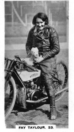 Wonderful to Infamous the Fay Taylour Story The Vintagent Flat Track Motorcycle, Motorcycle Racers, Motorcycle Posters, Motorcycle Clubs, Girl Motorcycle, Vintage Biker, Vintage Dog, Lady Biker, Biker Girl