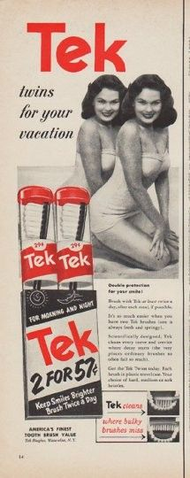 """1952 TEK TOOTH BRUSH vintage print advertisement """"twins for your vacation"""" ~ twins for your vacation ... Double protection for your smile! ~"""