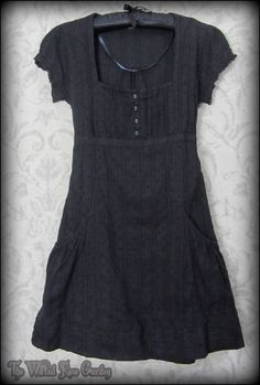 Romantic Goth Black Broderie Anglaise Lace Tea Dress 8 Vintage Victorian Doll | THE WILTED ROSE GARDEN