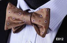 E812 BROWN RED DOT Cotton Blend Men Gravata Classic Wedding Bow Tie, Butterfly Self Tie