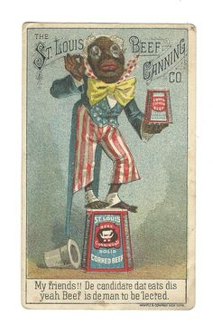 Trade Card St Louis Beef Canning Corned Beef Black Americana Political Candidate
