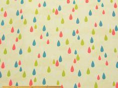 お買い物用のエコバッグやレジバッグ、雨よけのレインコートやカバーなどの制作に、カラフルなしずく柄のナイロンタフタ撥水プリント(クリーム)  122cm巾 ナイロン100%  - そーいんぐ・すていしょんコミニカ