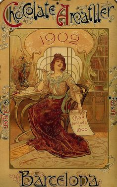 Chocolate Amatller 1902 By Alphonse Mucha Barcelona Spain X Image Size Vintage Poster Reproduction Design Art Nouveau, Art Nouveau Poster, Art Deco, Art Design, Alphonse Mucha, Art And Illustration, Pub Vintage, Vintage Art, Vintage Labels