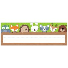This Woodland Friends name plate features cute woodland creatures (owl fox hedgehog rabbit raccoon deer and bear) peeking out from behind a log. Name plates are 9 x 3 36 name plates per package Woodland Animals Theme, Woodland Creatures, Forest Animals, Classroom Freebies, Classroom Themes, Classroom Newsletter, Classroom Labels, Classroom Resources, Teacher Resources