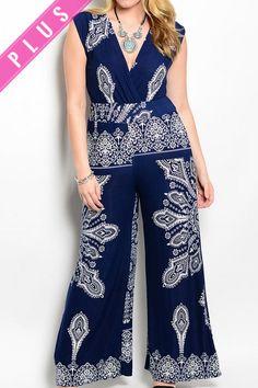 83b0b994b67 DHStyles Women s Navy Ivory Plus Size Sexy Paisley Print Dressy Sleeveless  Romper -. Black Luna Clothing