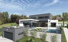 VUES EXTERIEURES - villa contemporaine, villa design contemp, toit terrasse, maison moderne