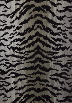 TIGER FLOCK, Black on Metallic Silver, T83065, Collection Natural Resource 2 from Thibaut