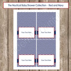 Table Labels - Nautical Red and Navy Chevron Baby Shower Editable Table Label / Buffet Label / Place card  - Nautical1  INSTANT DOWNLOAD