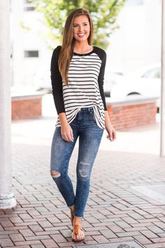 """""""Here Batter, Batter Top, Black""""How cute is this striped baseball tee! It's fabulously classic and wonderfully comfy! #newarrival #shopthemint"""