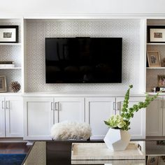 Transitional living rooms, contemporary family rooms, built in tv wall unit, buil Living Room Built Ins, Living Room Wall Units, Living Room Designs, Built In Tv Wall Unit, Tv Built In, Contemporary Family Rooms, Transitional Living Rooms, Built In Entertainment Center, Entertainment Products