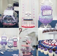Purple, blue and pink dessert/candy buffet Purple Candy Buffet, Candy Buffet Tables, Dessert Buffet, Dessert Bars, Birthday Ideas, Birthday Parties, Just Like Candy, Tennis Table, Pink Desserts