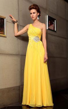 Amarillo brillante de un hombro vestido de noche alambre compuesto