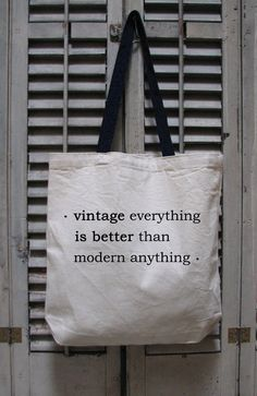 vintage tote - vintage design VINTAGE EVERYTHING - cotton canvas vintage theme tote.