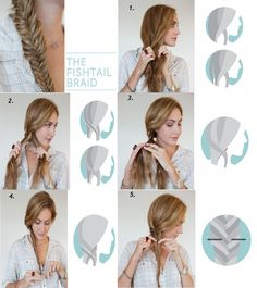 Fishtail braid- First decide where you want to put your braid. You can tie it into a ponytail first or let it goes loose. Then split your hair into two sections. Take a little section from one side and cross it over to the other side. Keep doing that until you get to the end.