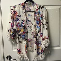 Floral Umgee Cardigan Cute. Sassy. Floral cardigan with fringe. 1XL Umgee Tops Camisoles